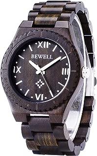 BEWELL Men Boy Big Dial Face Wooden Watch Handmade Lightweight Natural Business High-end Custom Luminous