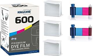 Magicard 600 Printer 2 x MB300YMCKO Color Ribbon - YMCKO - 600 Prints (Total) with Bodno Premium CR80 30 Mil Graphic Quali...