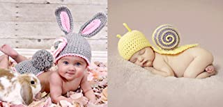 2 Set Newborn Bunny Rabbit Photography Prop Costume Double Set | Includes Crochet Rabbit Cap and Diaper Plus Snail Design Cap and Tail Outfits