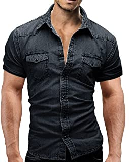 Men Short Sleeve Button Down Shirt Casual Slim Fit with Pocket Top Blouse