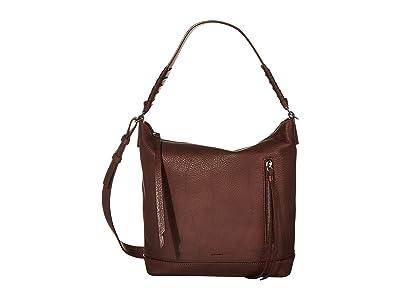 AllSaints Shirley Zip Crossbody (Bordeaux) Handbags