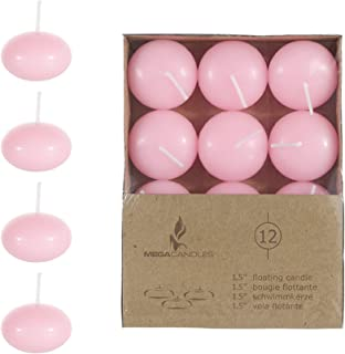 Mega Candles 24 pcs Unscented Pink Floating Disc Candle, Hand Poured Paraffin Wax Candles 1.5 Inch Diameter, Home Décor, Wedding Receptions, Baby Showers, Birthdays, Celebrations & Party Favors