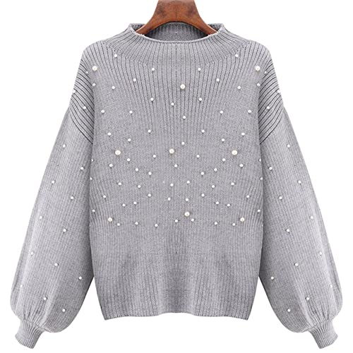 LifeShe Womens Turtleneck Puff Sleeve Knit Pullover Sweater with Pearls  Beading 37ae78f18