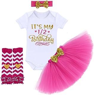 FYMNSI Newborn Baby Girls It's My 1st/2nd Birthday Cake Smash Romper Tutu Skirt Headband Leggings 4 Pcs Outfits