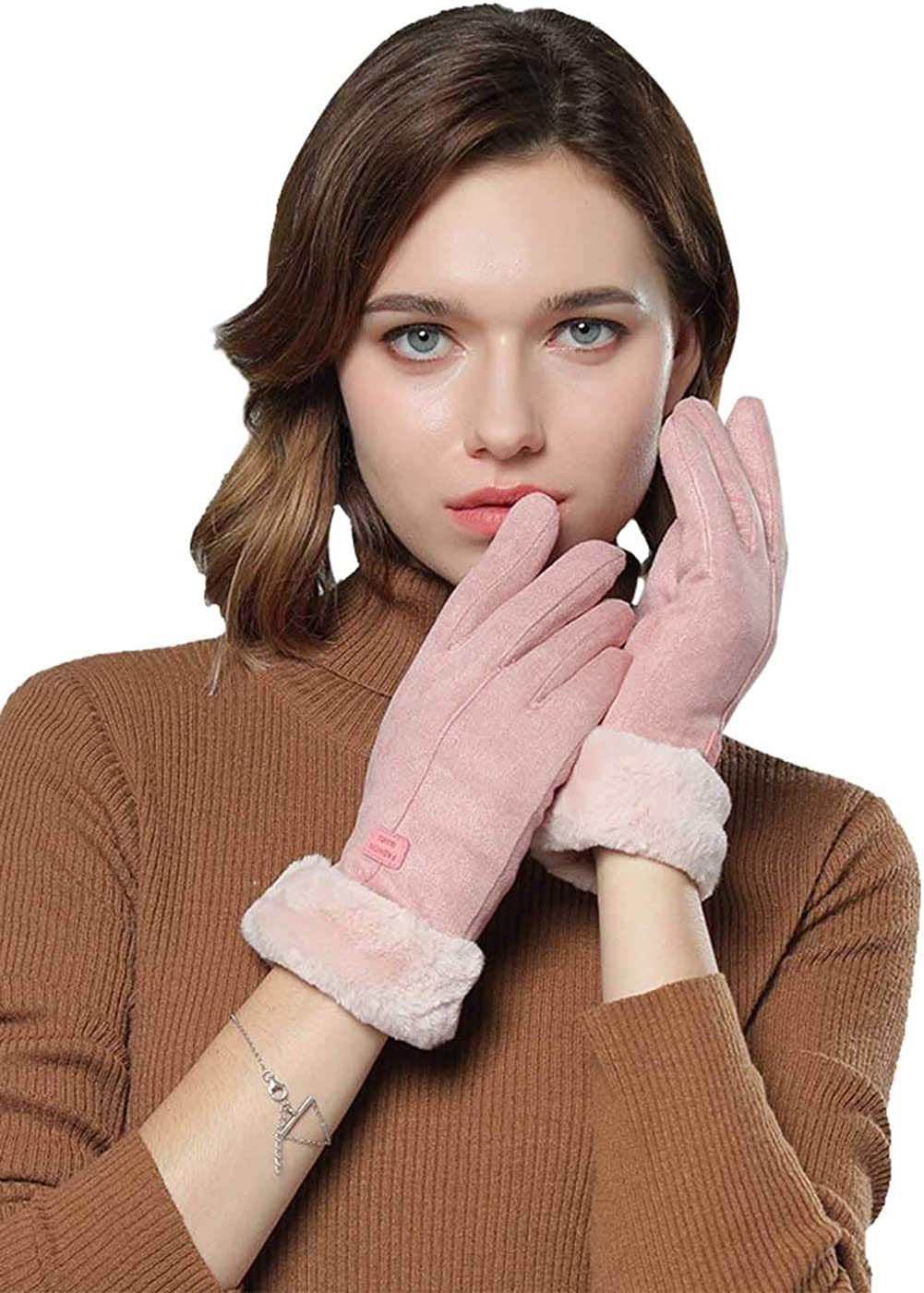 Simsly Womens Suede Glove Winter Outdoor Faux Fur Gloves Touch Screen Glove Warmer Mittens Gloves for Autumn and Winter(Pink)