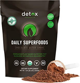 Detox Organics Chocolate Green Superfood Powder - Made with Organic Ingredients Like Kale, Wheatgrass, Chlorella, Spirulina, and Beet Juice - Perfect for Keto and Vegan Meal Replacement Shakes
