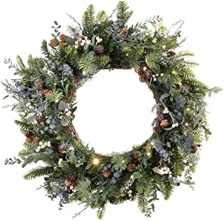 [30 Inch Artificial Christmas Wreath] - Rustic White Berry Collection - Natural Decoration - Pre Lit with 50 Warm Clear Colored LED Mini Lights - Includes Remote Controlled Battery Pack with Timer