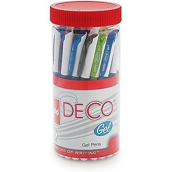 Cello Deco Gel Pen (25 Pens Jar - Blue)   Waterproof gel pen ink for smudge free & smooth writing