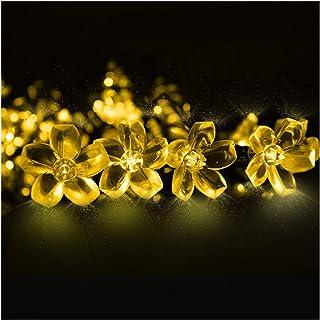 Cadena de Luces, Mr.Twinklelight 6.5M 50 LED Flor Solar Luz Decorativa para Jardín, Terraza, Boda, Árbol de Navidad, Fiesta, Patio, Blanco Cálido