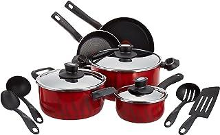 Tefal C5489482 12Pieces Non-Stick Coating Cooking Set, Red/Black, W 59.4 x H 38.8 x D 23.8 cm, Aluminium
