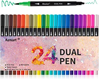 Dual Tip Art Marker Pens Fine Point Journal Pens & Colored Brush Markers for Kid Adult Coloring Books Drawing Planner Calendar Art Projects (24 Pens Set)