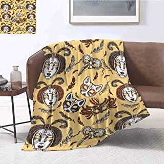 Masquerade Bedding Microfiber Blanket Venetian Style Paper Mache Face Mask with Feathers Dance Event Theme Super Soft and Comfortable Luxury Bed Blanket W60 x L70 Inch Mustard Brown White