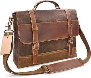 Men's Accessories Men's Messenger Bag Waterproof Canvas Crazy Horse Leather Computer Laptop Bag 14 Inch Briefcase Case Vintage Shoulder Bag College Outdoor Recreation (Color : Brown)