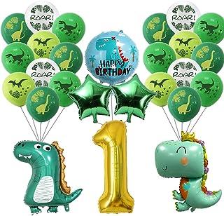 26 عبوة من بالونات على شكل ديناصور صغير من لوازم حفلات عيد الميلاد الأول لديكورات الديناصورات الأولى للأطفال الأولاد والبنات