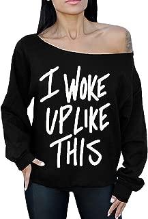 I Woke Up Like This White Off The Shoulder Oversized Sweater Sweatshirts