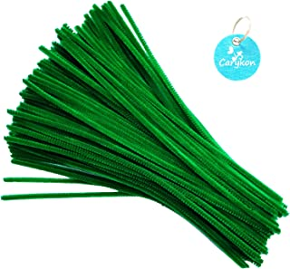Carykon 100 PCS Fuzzy Chenille Stems Pipe Cleaners for Arts and Crafts (Green)