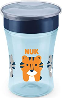 NUK Magic Cup Sippy Cup | 360° Anti-Spill Rim | 8+ Months | BPA-Free | 230 ml | Tiger (Blue) | 1 Count