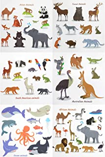 Fiomia Adorable Animals Temporary Tattoos Ocean Forest Asian Australian African South American Cartoon Sticker Face Decal Body Glitter for Children Kids Girls Waterproof Removable 64Designs 6Sheets