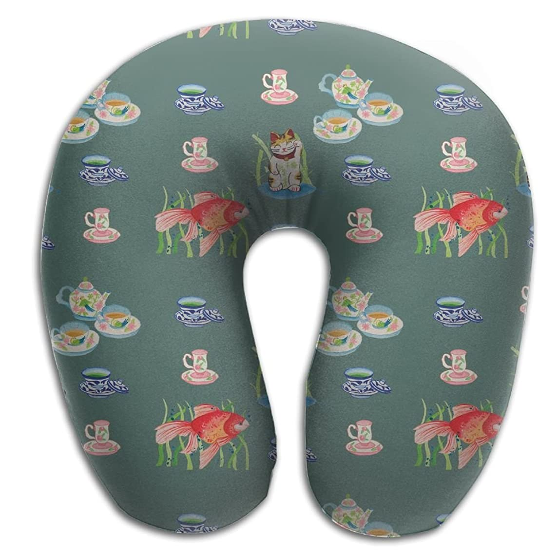Memory Foam Neck Pillow Cup Fish Pattern Comfy Soft U-Shape Cervical Pillow Head Support For Travel Office Sleeping