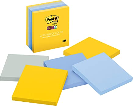 Post-it Super Sticky Notes, New York Color Collection, 3 in x 3 in, 5 Pads/Pack, 90 Sheets/Pad (654-5SSNY)