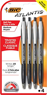BIC Atlantis Original Retractable Ballpoint Pen Medium Point (1.0 mm) - Black, Pack of 4 Pens