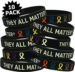 Fight Like a Girl They All Matter Silicone Wristband Bracelets, Individually Packaged, 10-Pack (Assorted Colors)