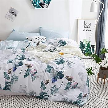 Floral Cottton Duvet Cover Queen, 100% Cotton Aqua Botanical Leaves Printed White Bedding Duvet Cover with Zipper Closure, Ultra Soft Cotton Bedding (3Pcs, Queen Size)