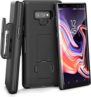Encased Galaxy Note 9 Belt Case Holster - Ultra Thin DuraClip Protective Hard Cover w/Rotating Clip (Smooth Black)