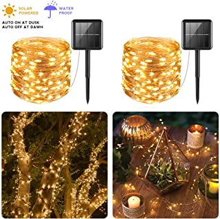 PCJHSP Solar Powered String Lights, 2 Pack 100 LED Solar Fairy Lights 33 feet Waterproof 8 Modes Copper Wire Lights for Indoor/Outdoor Gardens Homes Wedding Holiday Party (Warm White)