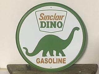 HNNT Sinclair Dino Gasoline Rundes Metallschild Station Garage Gas and Oil Werbung Metallschild Neu Schild 30,5 x 30,5 cm
