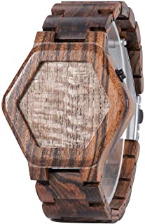 BOBO BIRD Wood Watch Mens Large Size Retro Digital Led Display Night Vision Handmade Wooden Watches Unique Timepiece for Men