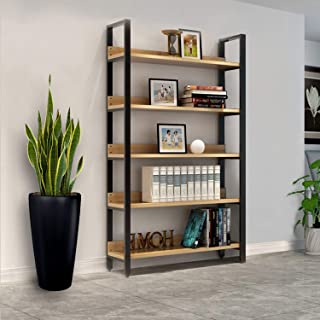 Jerry & Maggie - Steel Wood Racks Shelves Book Shelves Cases Display Racks 5 Tier Accessory Sets Home Livingroom Space Saver Storage Cabinet with Steel Support Frame and Wood Board
