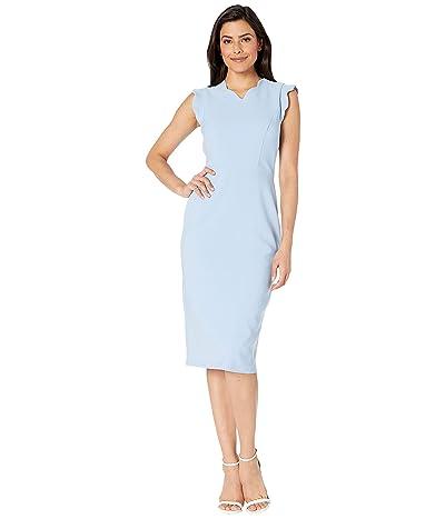 Maggy London Mystic Crepe Scallop Sheath Dress (Sky Blue) Women