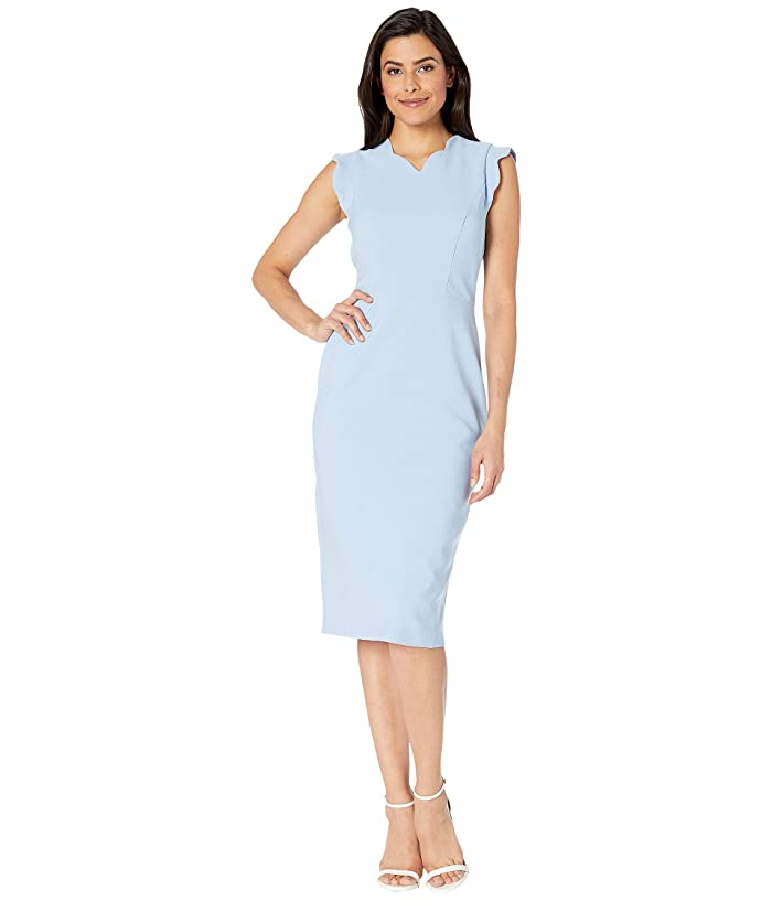 Maggy London  Mystic Crepe Scallop Sheath Dress (Sky Blue) Womens Dress
