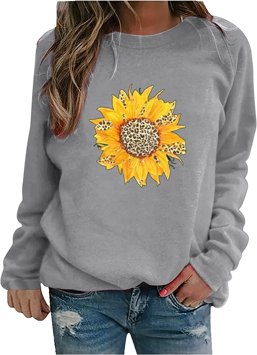 Auwer Women's Leopard Sunflower Print Tops Round Neck Long Sleeved T-Shirt Basic Loose Fit Blouses Casual Pullover Tunics