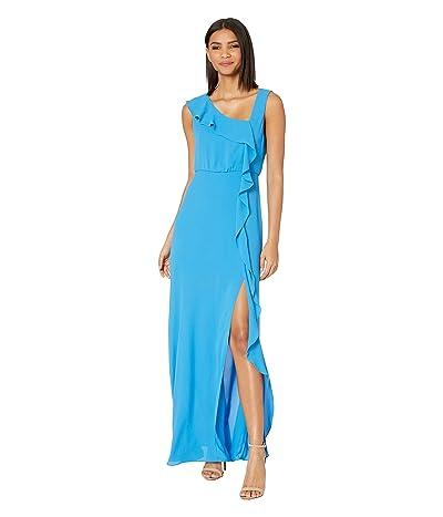 BCBGMAXAZRIA Ruffle Front Evening Gown (French Blue) Women