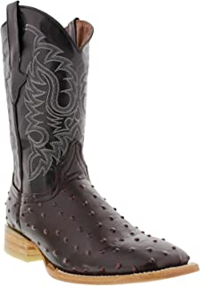 Texas Legacy - Mens Black Cherry Ostrich Quill Design Leather Cowboy Boots Square Toe 13.5 2E