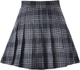 COSWE Girls High Waist Wool Pleated Schoolgirls Mini Skirt