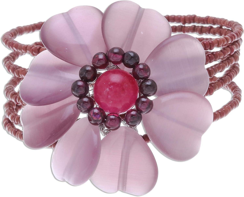 NOVICA Multi-Gem Garnet Stainless Steel Cuff Bracelet, Garnet Blossom'