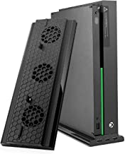 TNP Vertical Stand with Cooling Fans for Xbox One X, USB Powered Speed Adjustable Cooler System w/ 3 High-Speed Fans, 3 Charging / Data Syncing USB 2.0 Ports & LED Light Bar
