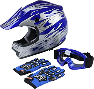 TCT-MT Helmet+Goggles+Gloves DOT Youth Kids Helmet Blue...