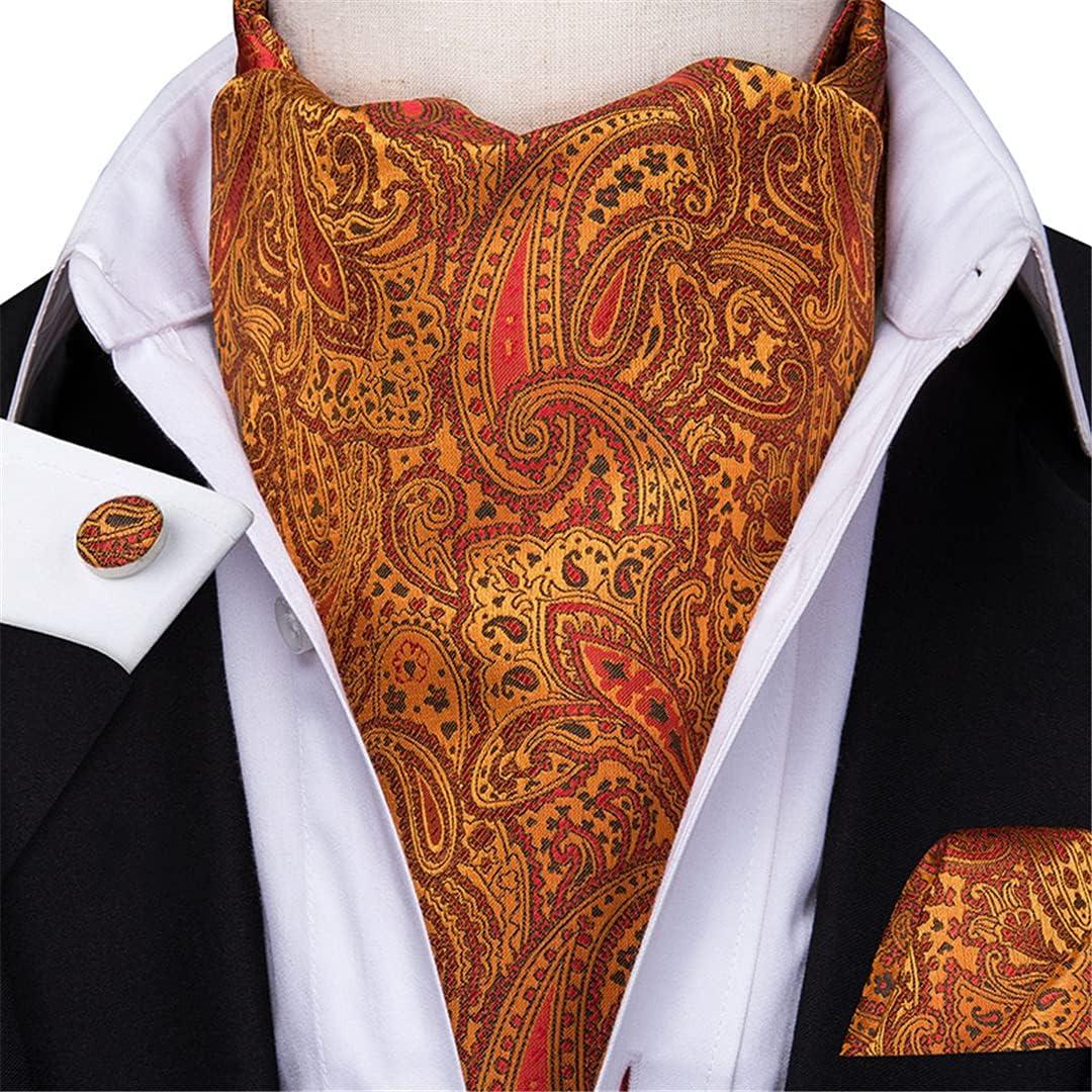 Men'S Cravat Set Luxury Floral Cravat Tie Silk Red Blue Pink Pocket Square Cravat