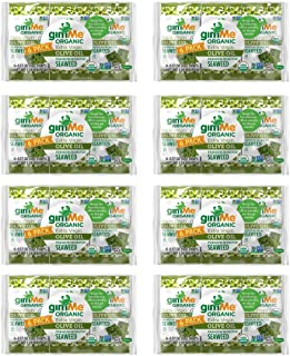 gimMe Snacks - Organic Roasted Seaweed - Extra Virgin Olive Oil - (.17oz) - (Pack of 48) - non GMO, Gluten Free, Keto, Paleo - Healthy on-the-go snack for kids & adults