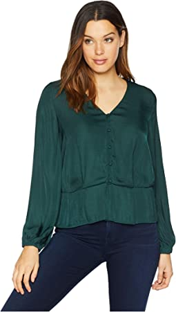 Long Sleeve Peplum Hem Button Down Blouse