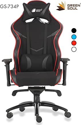 Green Soul Monster Pro GS-734P Fabric and PU Leather Gaming and Ergonomic Chair (Large, Black and Red)