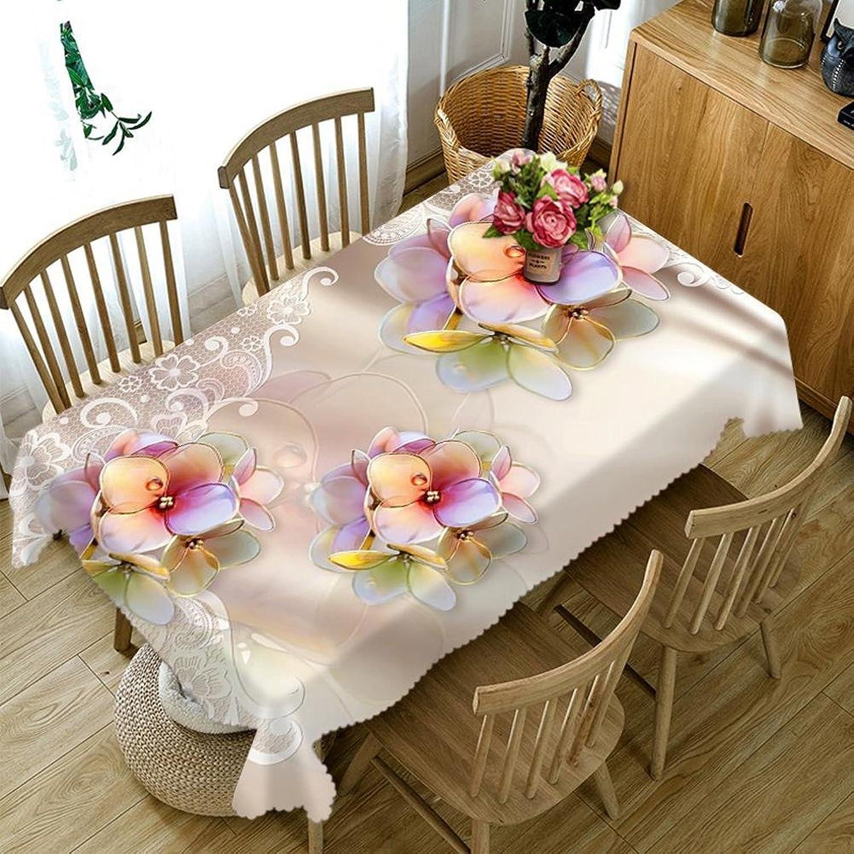 Tablecloth 3D Crystal Clear Petals Digital Printing Dustproof Dinner Desktop Top Cover Rectangular Tablecloth