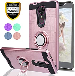 YmhxcY Coolpad Revvl Plus C3701A Case,Revvl Plus(T-Mobile) Case with HD Screen Protector, 360 Degree Rotating Ring & Bracket Dual Layer Shock Resistant Cover for Revvl Plus-ZH Rose Gold