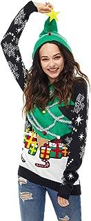 Unisex Women's Christmas Sweater Hoodie Ugly Pullover Novelty Reindeer Hooded Funny Knit Fur Santa