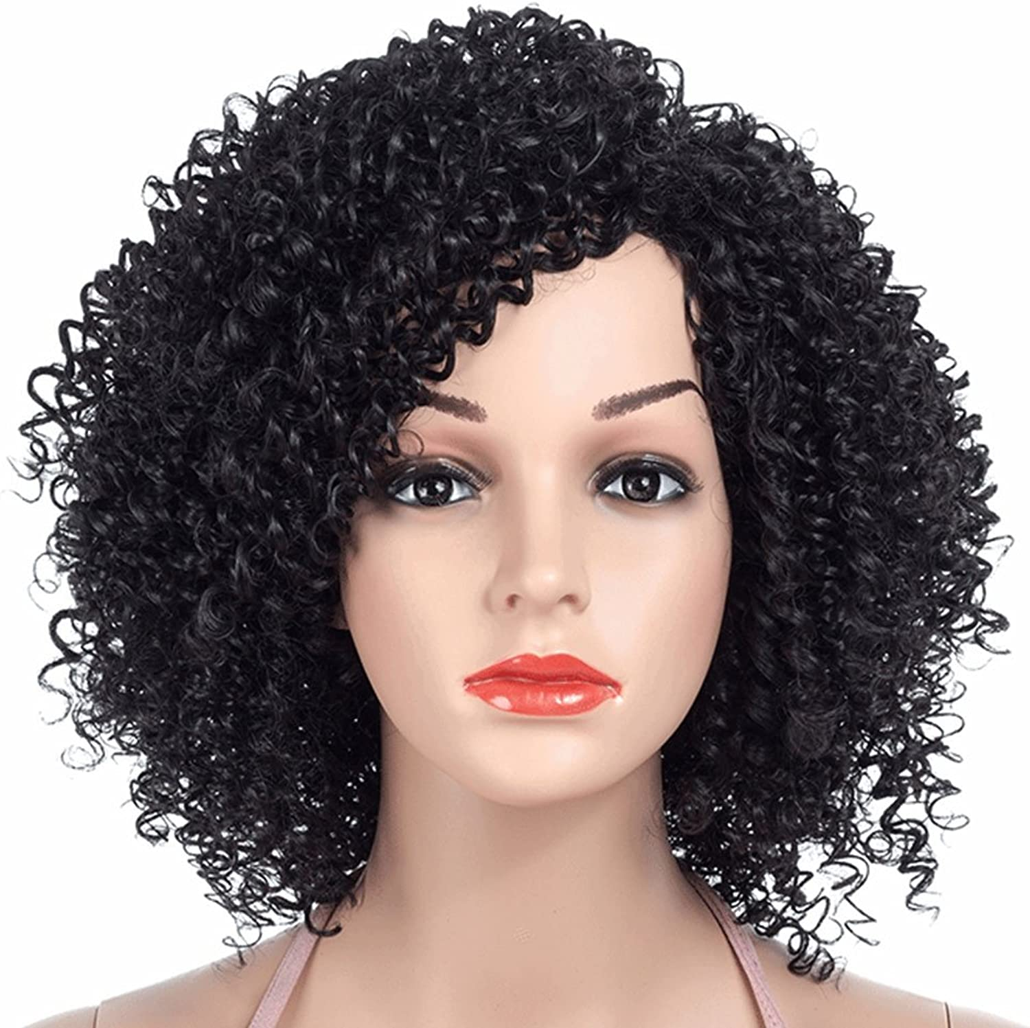 SHUAIGE Small Curly Short Hair Female Wigs European and American Fashion Fluffy African Black Partial Short Hair Holiday Party Cosplay Chemical Fiber High Temperature Silk Synthetic Wig 36cm200g