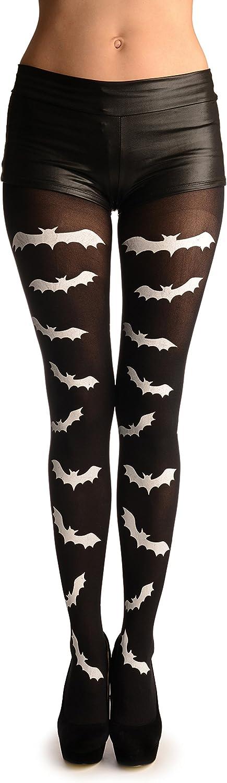 White Printed Bats On Black (Halloween) - Pantyhose (Tights)